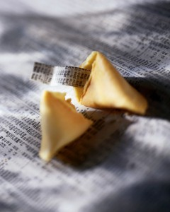 Fortune cookie on business paper